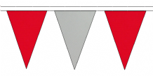RED AND GREY TRIANGULAR BUNTING - 10m / 20m / 50m LENGTHS